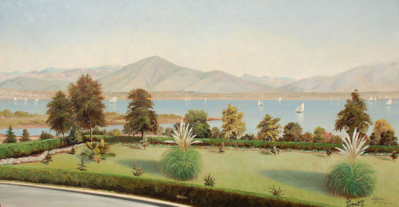 "Albert Horatio Slade (1843-1922) ""Gardens Of The Hotel Coronado"" Oil on panel 44""x54"""