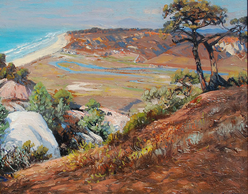 "Alfred Mitchell (1888-1972) ""Torrey Pines"" Oil on board 16""x20"""