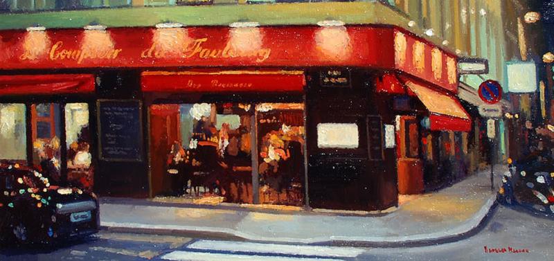Douglas Morgan-Night Glow,oil on canvas 12_x24_