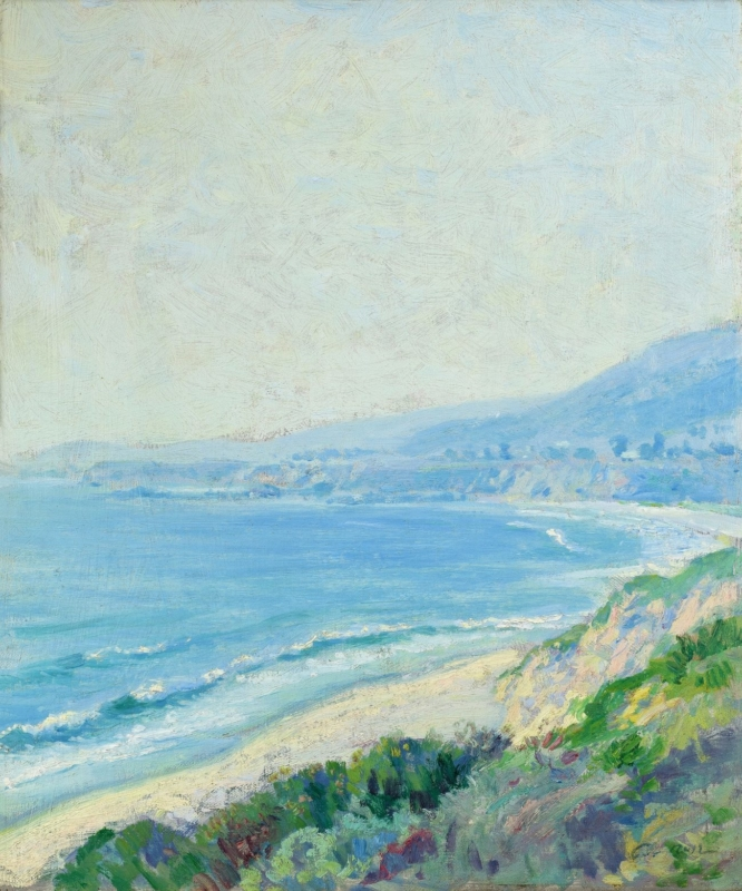 "Guy Rose (1867-1925) ""Laguna Beach"" Circa 1915 Oil on canvas 18.5""x15"""