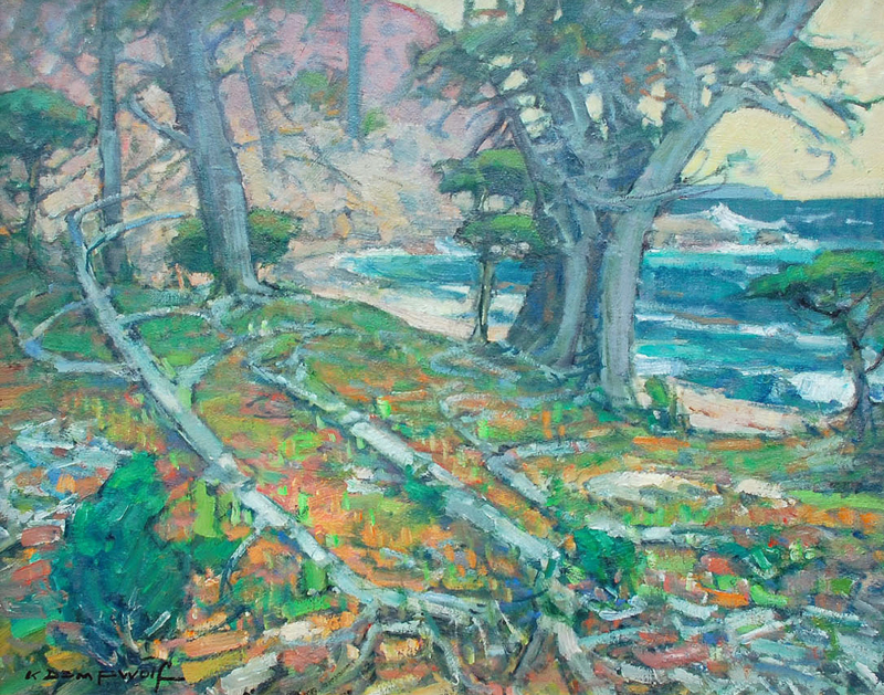 Karl Dempwolf-Along the 17 Mile Drive, 0il on panel 24x30