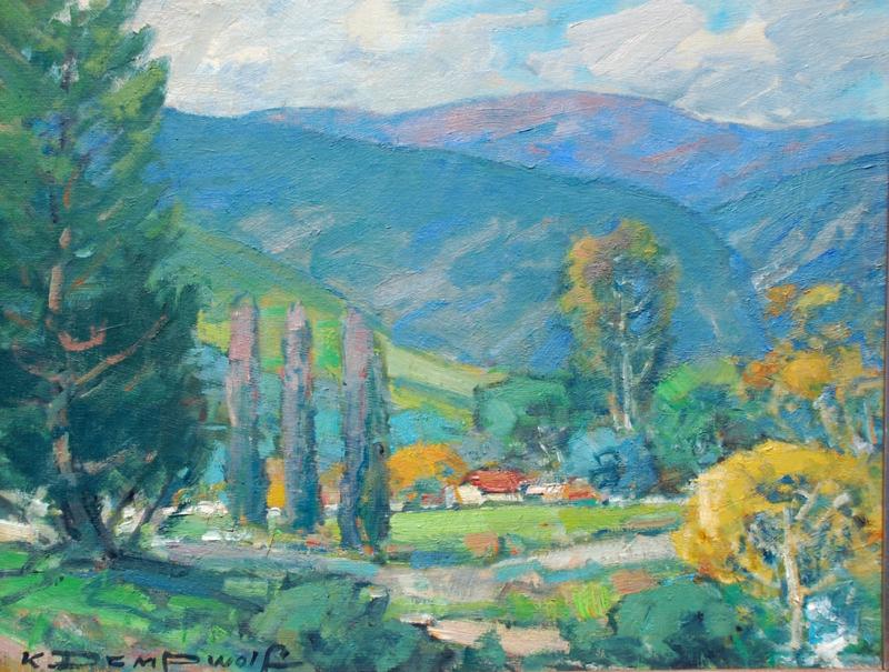 Karl Dempwolf-The Arroyo Hondo, oil on panel 16x20