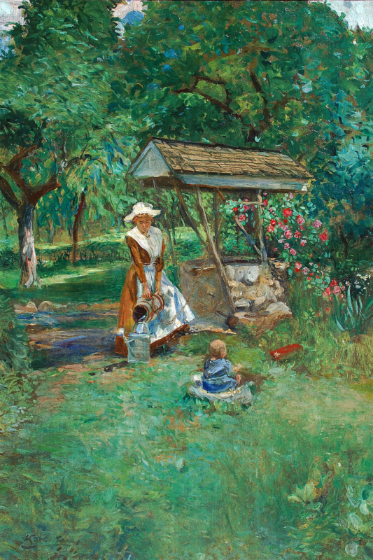 "Karl Yens (1868-1945) ""At The Well"" dated 1911 Oil on canvas 30""x20"""