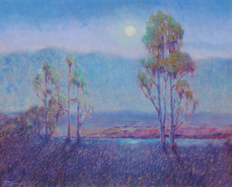 Ray Carpenter-Moonlight in Carmel Valley, oil on canvas 20_x24_