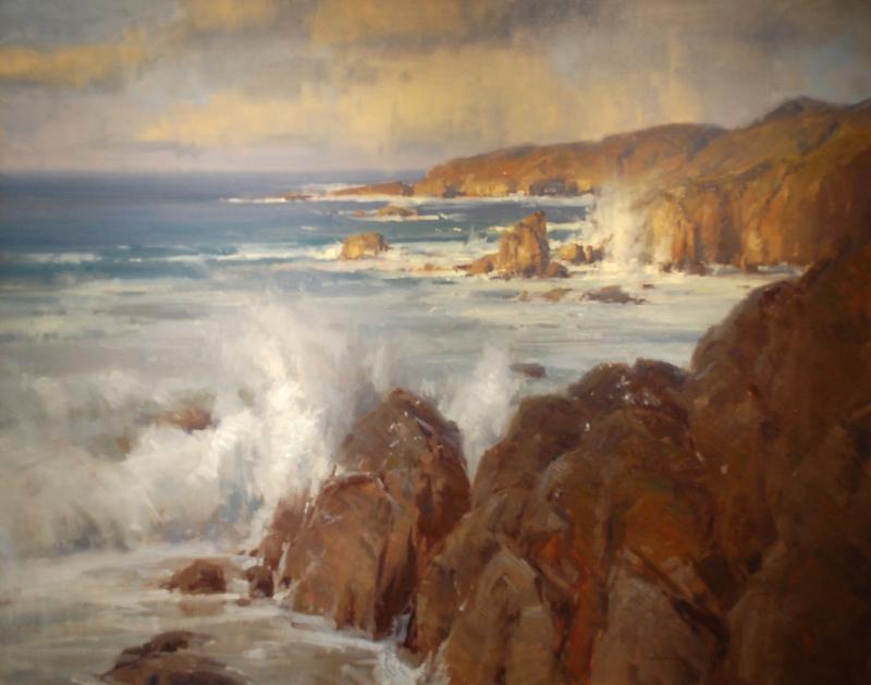 Scott Christensen-Crashing Waves and Coast, oil on canvas Garapatta 48x60