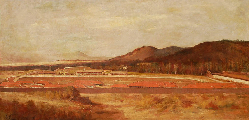 Giuseppe Cadenasso-Tan Foran Race Track, oil on canvas 36x72