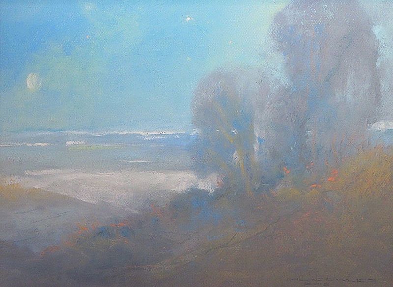 Michael Cowles-Moonlight Over the Bay, pastel 12x16