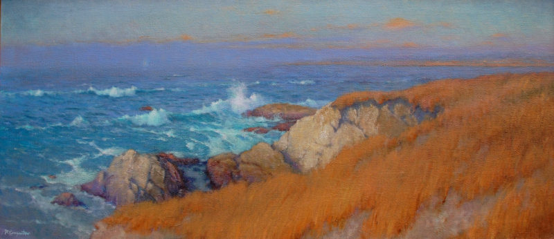 Ray Carpenter-Rocks and Surf at Pebble Beach,oil on canvas 16x36