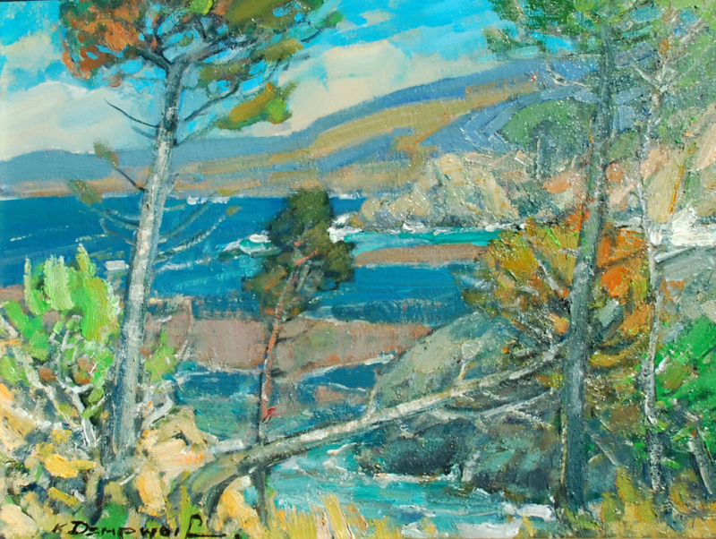 "Karl Dempwolf-View through the Pines,Point Lobos oil on panel 14""x18"""