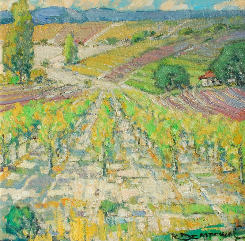 "Karl Dempwolf-A Vineyard for Carmel, oil on panel 16.5""x16.5"""